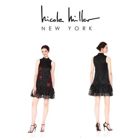 b8ac4220f8 NWT Nicole Miller black lace dress cherry blossom